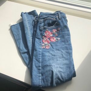 Garage High Waist Distressed Jeans With Embroidery